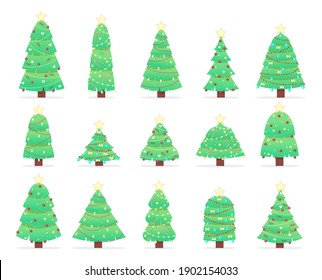 Set of Christmas trees on a white background. Cartoon fir trees in garlands. Can be used for printed products - flyers, posters, business cards