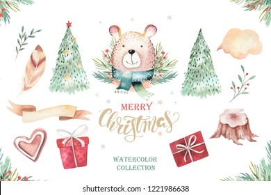 Set of Christmas Woodland Cute forest cartoon beer animal character. Winter set of new year floral elements, bouquets, berries, fllowers, snow and snowflake, lettering