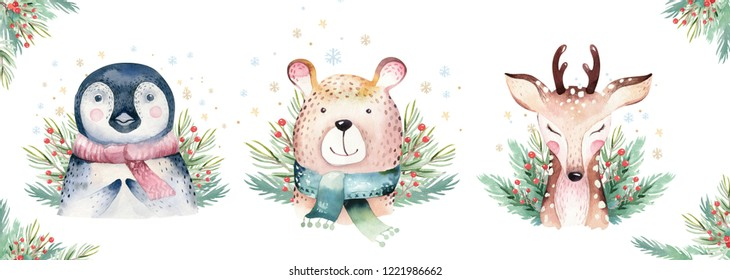 Set of Christmas Woodland Cute forest cartoon bear cute deer and penguin animal character. Winter set of new year floral elements, bouquets, berries, fllowers, snow and snowflakes, lettering
