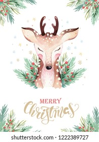 Set of Christmas Woodland Cute forest cartoon deer animal character. Winter set of new year floral elements, bouquets, berries, fllowers, snow and snowflake, lettering
