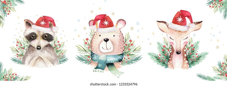 Set of Christmas Woodland Cute forest cartoon raccoon, bear cute deer animal character. Winter set of new year floral elements, bouquets, berries, fllowers, snow and snowflakes, lettering