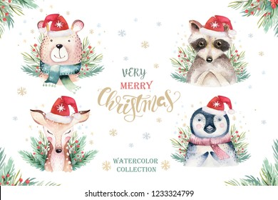 Set of Christmas Woodland Cute forest cartoon raccoon, bear cute deer and penguin animal character. Winter set of new year floral elements, bouquets, berries, fllowers, snow and snowflakes, lettering