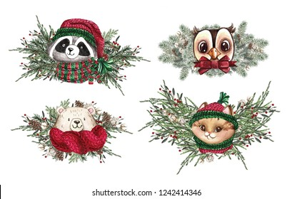 Set of Christmas Woodland Cute forest cartoon bear cute owl, cat and racoon animal character. Winter set of new year floral elements, bouquets, berries, fllowers, snow and snowflakes, lettering