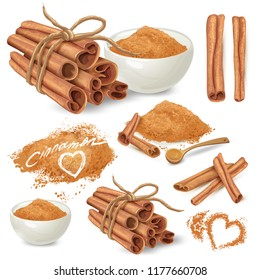 Set of cinnamon sticks and ground on powder cinnamon in ceramic bowl and scattered around hand drawn isolated on white background. Sweet spicy seasoning illustration for recipes, menus design