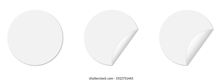 Set of circle adhesive stickers with folded edges and shadow. Empty mockup for any memos. Isolated on white background