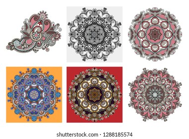 set of circle lace ornament, round ornamental geometric doily pattern in indian kalamkari style, raster version illustration collection