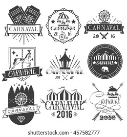 Set of circus and carnival labels in vintage style. Design elements, icons, logo, emblems and badges isolated on white background. Amusement park with attractions