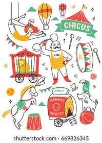 Set of circus doodle design element