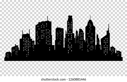 Set of  city silhouette and elements for design.