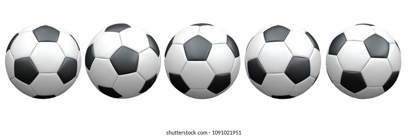 The set of the classic footballs on the white. 3d illustration.