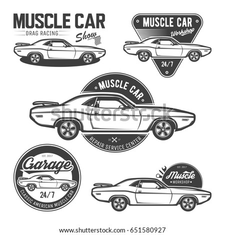 Set Classic Muscle Car Emblems Logos Stock Illustration 651580927