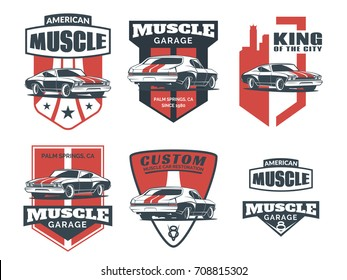 Set of classic muscle car logo, emblems, badges and icons isolated on white background. Service car repair, car restoration and car club design elements.