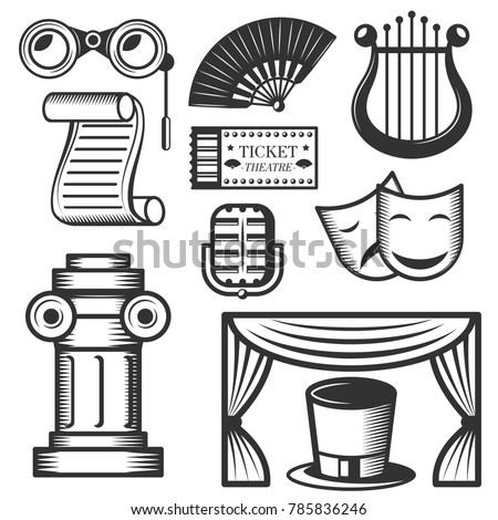 Set Of Classic Theater Isolated Icons Black And White Symbols Design Elements