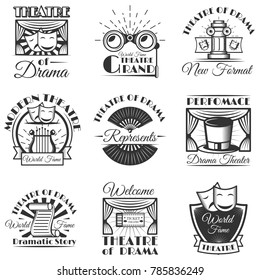 Set of classic theater isolated labels, logo and emblems. Black and white theater symbols and design elements. Drama masks, harp, tickets, theater drapes and stage curtains.