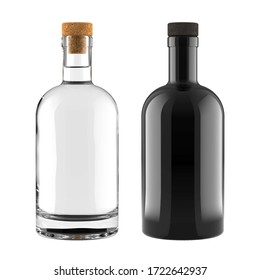A Set of Clear Glass and Black Bottles for Whiskey, Vodka, Gin, Rum, Liquor or Tequila Bottle for Accurate Work with Light and Shadows. 3D Render Isolated on a White Background.