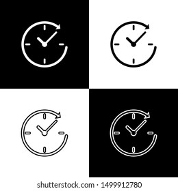 Set Clock with arrow icons isolated on black and white background. Time symbol. Clockwise rotation icon arrow and time. Line, outline and linear icon