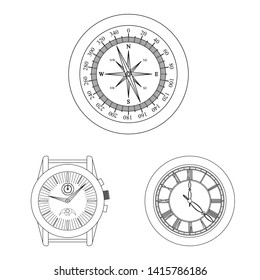 Set of clock and circle  icon for stock.