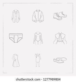 Set of clothing icons line style symbols with sleeveless dress, puritan collar, garment and other icons for your web mobile app logo design.