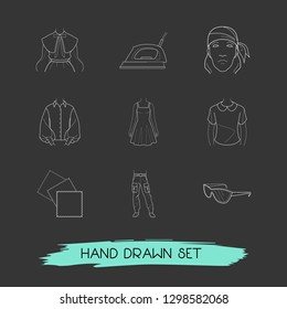 Set of clothing icons line style symbols with bandanna, puritan collar, denim icons for your web mobile app logo design.