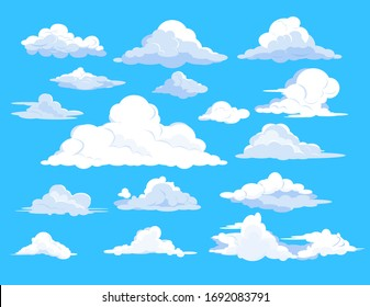 Set of clouds in sky. Fluffy, summer, weather. Can be used for topics like background, collection, meteorology