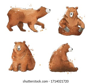 Set of clumsy watercolour bears,  hand painted illustration