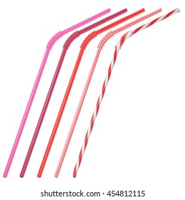 Set of cocktail straws isolated on white background. Pink, vinous, red and striped drinking straws. 3D illustration.