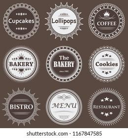 Set of coffee, bakery labels. Vintage design. Raster version of the illustration