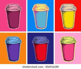 Set Coffee Cup Illustration Pop Art Style