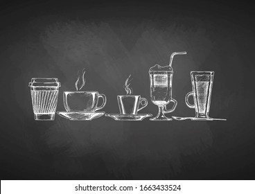 set of coffee cups in ink hand drawn style. illustration on blackboard.