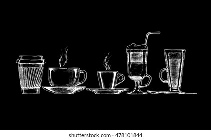 set of coffee cups on black background.