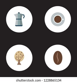 Set of coffee icons flat style symbols with tree, percolator, cup and other icons for your web mobile app logo design.