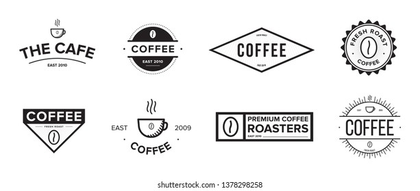 Set of coffee label. Different logo, badge, emblem collection on white background. Black and white illustrations.