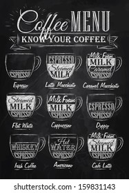 Set of coffee menu with a cups and names of drinks in vintage style drawing with chalk on chalkboard background.