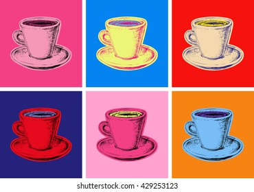 Set of Coffee Mug Illustration Pop Art Style Andy Warhol