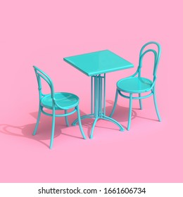 Set of coffee table and vintage chairs. Lovely scene of retro cafe. 3d illustration.
