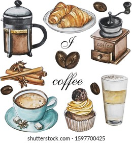 Set. Coffee theme, watercolor illustration. A cup of coffee. Cinnamon. Coffee grinder. Croissant Cake. Hand composition. Spring. Making cards, notebooks, sketchbooks, fabrics.