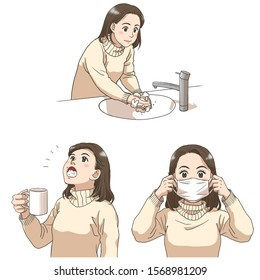 A set of cold prevention actions (gargling, hands-washing, wearing a mask)