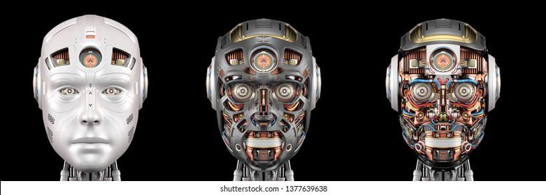 黒い背景に3つの異なるロボットの顔または詳細なサイボーグヘッドをセットまたはコラージュします。3Dイラスト