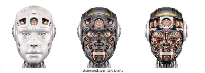 set or collage of three different robot faces or detailed cyborg heads isolated on white background. 3D illustration