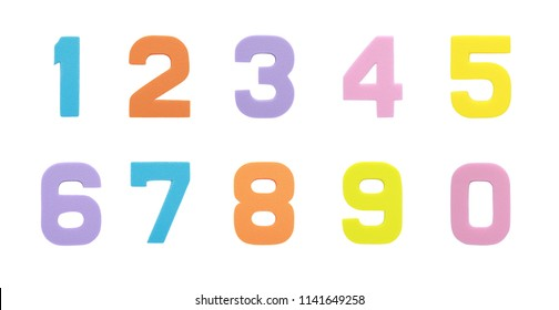 Set collection Arabic number symbol of sponge rubber isolated over white background.