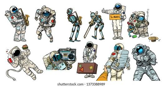 Set collection astronauts and robots. homeless traveler musician hitchhiker customer fast food. Comic book cartoon pop art retro  illustration vintage kitsch