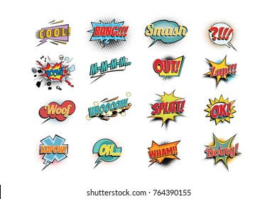 Set collection comic phrases words. cool bang smash boom mmm out zap woof vroom splat ok kapow oh wham boing. Pop art retro  illustration