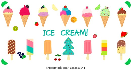A set collection of fourteen types of various sweet ice-cream, in a waffle cup and on a stick, juicy fruits and berries on a white background and text. Flat style illustration.