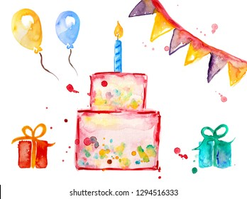 Set collection happy birthday watercolor, ball, balloon, gift, colorful, pennant kid