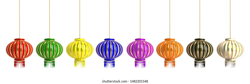 Set collection of various red green yellow blue violet orange black white chinese lantern lampion isolate on white background. Design of chinese festival celebration gong xi fa cai. 3D illustration.