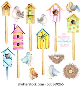 Set, collection of watercolor colorful birdhouses, cute birds and nests illustrations, hand drawn isolated on a white background