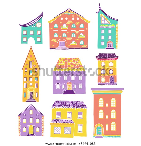 Set of color doodle houses, collection of hand-drawn bright sketch buildings, isolated, raster copy of vector file
