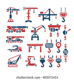 Set color icons of crane, lifts, winches and hooks isolated on white