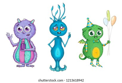 Set with color and lovely monsters with big eyes. Hand drawn illustration with cute characters. sketch marker style