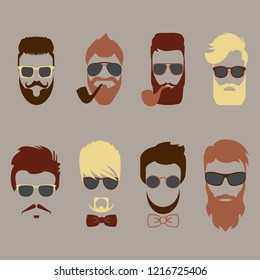 Set of color mustache, beards, hair hipster with glasses, bow tie and smoking pipes. Retro curly collection. Barber silhouette